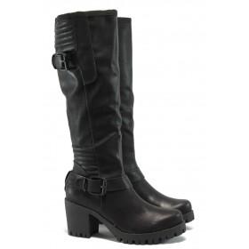 Дамски ботуши - висококачествена еко-кожа - черни - S.Oliver 5-25607-25 черен