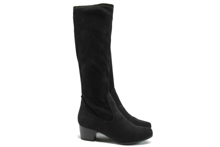 Дамски ботуши - висококачествен текстилен материал - черни - EO-7154