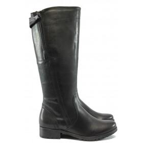 Дамски ботуши - естествена кожа - черни - EO-7155