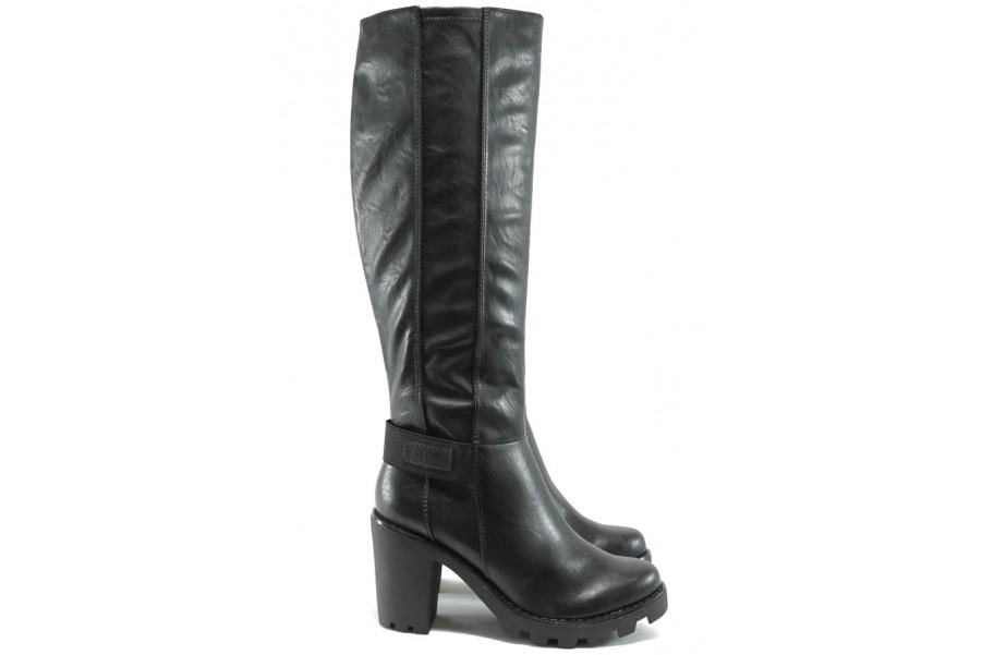 Дамски ботуши - висококачествена еко-кожа - черни - EO-7157