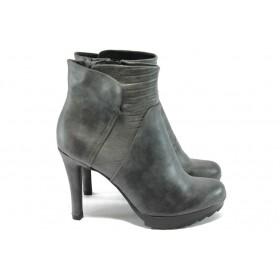 Дамски боти - висококачествена еко-кожа - сиви - EO-7332