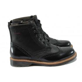 Дамски боти - еко кожа-лак - черни - EO-7365