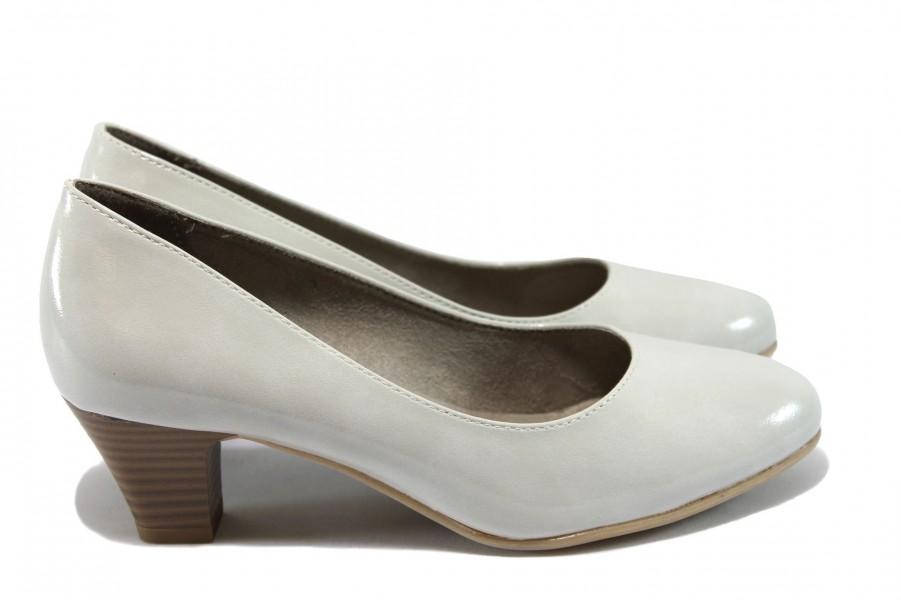 Дамски обувки на среден ток - еко кожа-лак - сиви - EO-7790