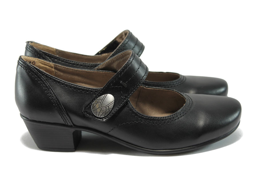 Дамски обувки на среден ток - висококачествена еко-кожа - черни - EO-7800