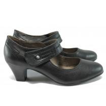 Дамски обувки на среден ток - висококачествена еко-кожа - черни - EO-7809