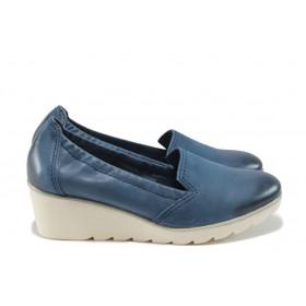 Дамски обувки на платформа - естествена кожа - сини - EO-7814
