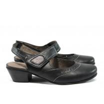 Дамски обувки на среден ток - висококачествена еко-кожа - черни - EO-7831