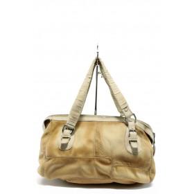 Дамска чанта - естествена кожа - жълти - EO-7901