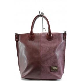 Дамска чанта - висококачествена еко-кожа - бордо - EO-7939