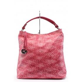 Дамска чанта - висококачествена еко-кожа - розови - EO-7979