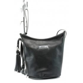 Дамска чанта - висококачествена еко-кожа - черни - EO-7988