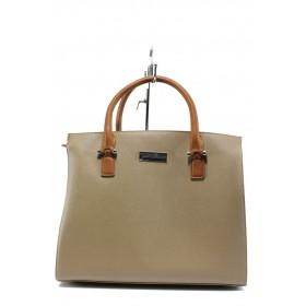 Дамска чанта - висококачествена еко-кожа - бежови - EO-7995