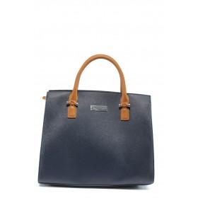 Дамска чанта - висококачествена еко-кожа - сини - EO-7994