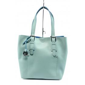 Дамска чанта - висококачествена еко-кожа - син - EO-7992