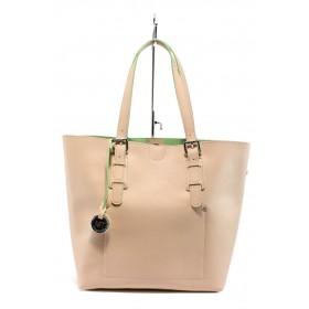 Дамска чанта - висококачествена еко-кожа - корал - EO-7990