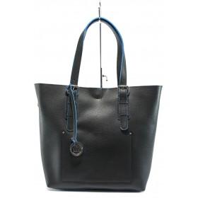 Дамска чанта - висококачествена еко-кожа - черни - EO-7991