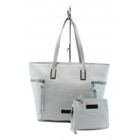 Дамска чанта - висококачествена еко-кожа - сиви - EO-7983