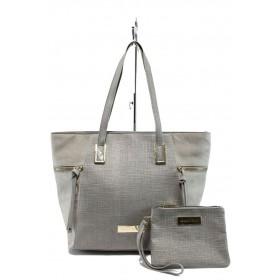 Дамска чанта - висококачествена еко-кожа - сиви - EO-7985