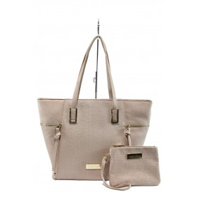 Дамска чанта - висококачествена еко-кожа - розови - EO-7984
