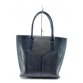 Дамска чанта - висококачествена еко-кожа - сини - EO-8139