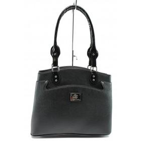 Дамска чанта - висококачествена еко-кожа - черни - EO-8137