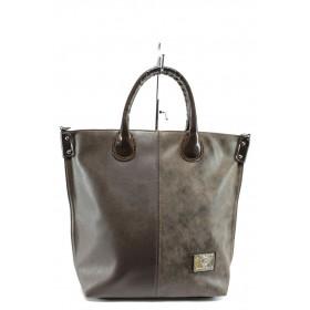 Дамска чанта - висококачествена еко-кожа - кафяви - EO-8136