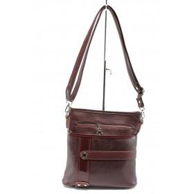 Дамска чанта - висококачествена еко-кожа - бордо - EO-8142