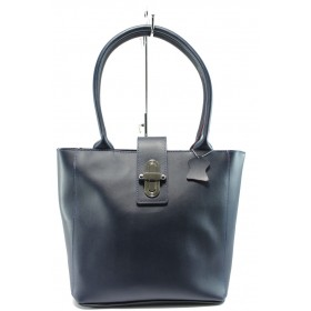 Дамска чанта - висококачествена еко-кожа - сини - EO-8202
