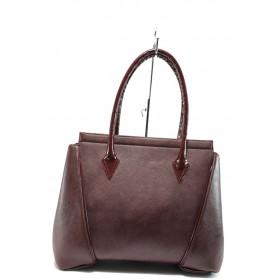 Дамска чанта - висококачествена еко-кожа - бордо - EO-8201