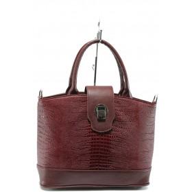 Дамска чанта - висококачествена еко-кожа - бордо - EO-8193