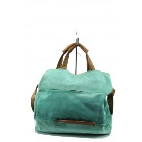 Дамска чанта - естествена кожа - зелени - EO-8438