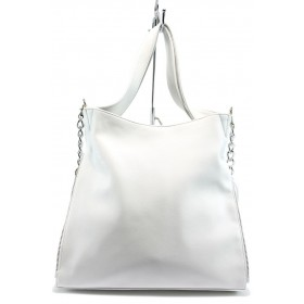 Дамска чанта - висококачествена еко-кожа - бели - EO-8474