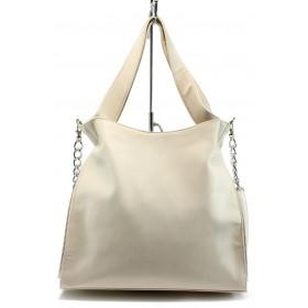 Дамска чанта - висококачествена еко-кожа - бежови - EO-8536