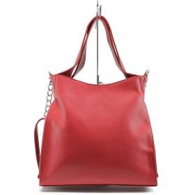 Дамска чанта - висококачествена еко-кожа - червени - EO-8537