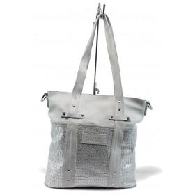Дамска чанта - естествена кожа - бели - EO-8737