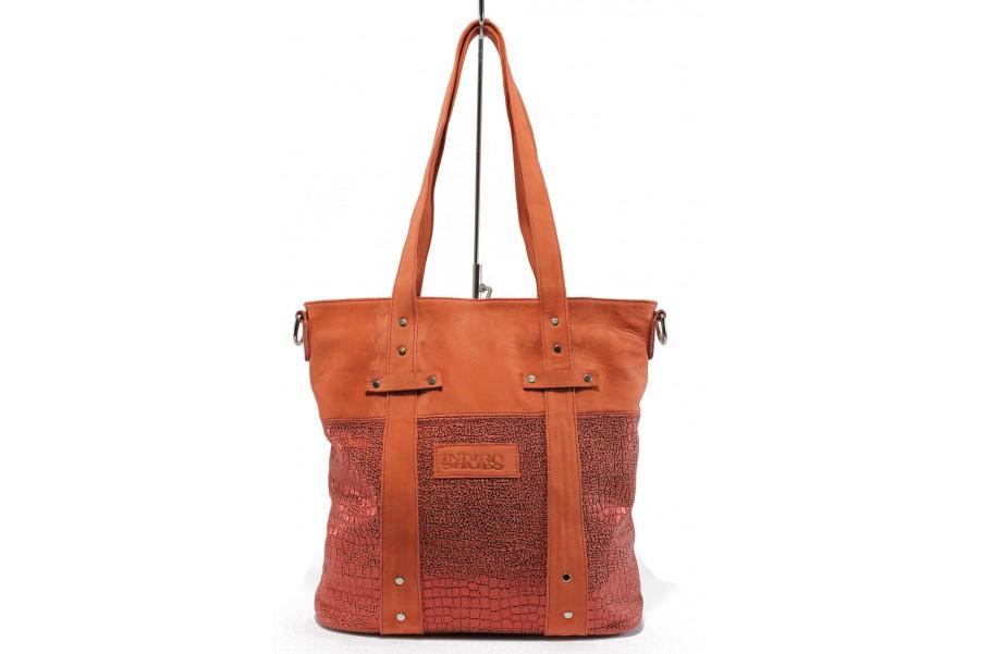 Дамска чанта - естествена кожа - червени - EO-8738