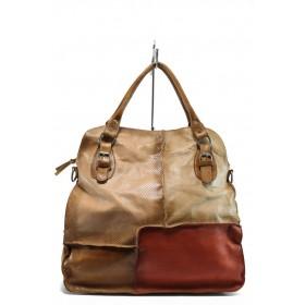 Дамска чанта - естествена кожа - бежови - EO-8702