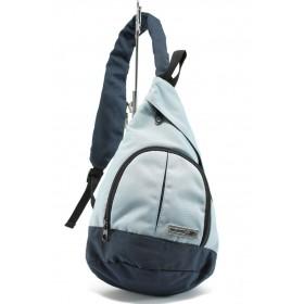 Раница - висококачествен текстилен материал - сини - EO-8962
