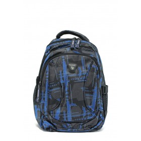 Раница - висококачествен текстилен материал - сини - EO-9212