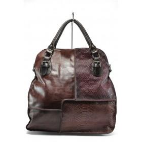 Дамска чанта - естествена кожа - бордо - EO-9240