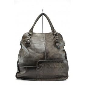 Дамска чанта - естествена кожа - кафяви - EO-9241