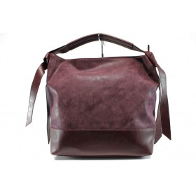 Дамска чанта - висококачествена еко-кожа - бордо - EO-9290