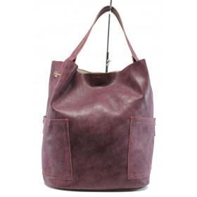 Дамска чанта - висококачествена еко-кожа - бордо - EO-9297