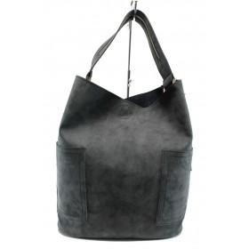 Дамска чанта - висококачествена еко-кожа - черни - EO-9349