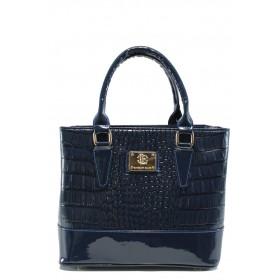 """Дамска чанта - еко-кожа с """"кроко"""" мотив - сини - EO-9348"""
