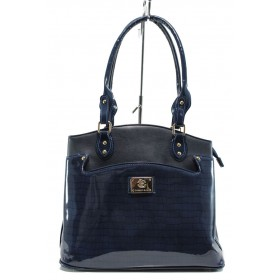 Дамска чанта - еко кожа-лак - сини - EO-9446
