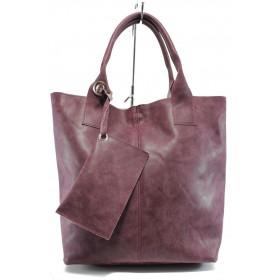 Дамска чанта - висококачествена еко-кожа - бордо - EO-9448