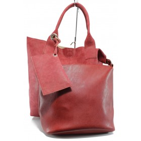 Дамска чанта - висококачествена еко-кожа - червени - EO-9449