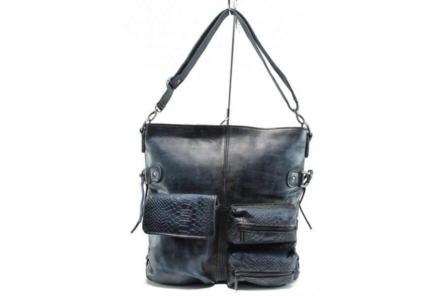 Дамска чанта - естествена кожа - сини - EO-9487