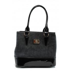 Дамска чанта - висококачествена еко-кожа в съчетание с еко кожа-лак - черни - EO-9657